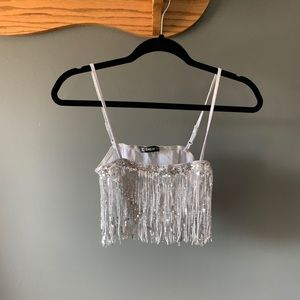 Sparkly drill silver tank top